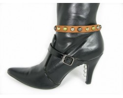 Brown Leather Metal Stud Boot Shoe Jewelry