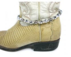 Silver Metallic Crystal Ball Boot Shoe Jewelry