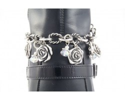 Antique Silver 3-D Rose Charms & Crystals With Twist Chain Shoe Boot Jewelry