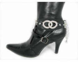 Black Leather Belt With Clear Crystal Silver Rings Boot Shoe Jewelry