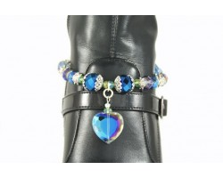 Blue & Green Crystal Heart Charm Chain Shoe Boot Jewelry