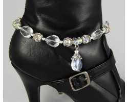Crystal AB 5 Teardrops & Charm Shoe Boot Jewelry