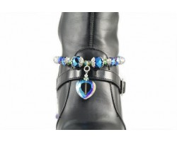 Bermuda Blue Single Heart Charm With Beaded Crystals Shoe Boot Jewelry