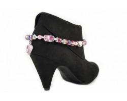 Mauve Pink Aurore Boreale Lampwork Foil Bead Shoe Boot Jewelry