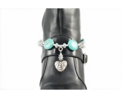 Turquoise Disc And Heart Charms Shoe Boot Jewlery