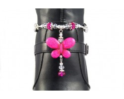 Hot Pink Butterfly Charm Crystal Shoe Boot Jewelry