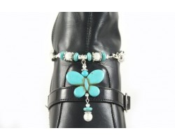 Turquoise Butterfly Charm Pearl Shoe Boot Jewelry