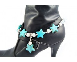 Small Turquoise 5 Stars Dangle Charm Crystal Shoe Boot Jewelry