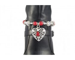 Red Bead Silver Filigree Heart Shoe Boot Jewelry