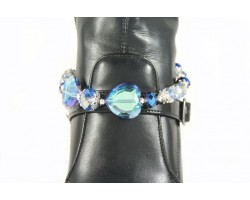 Blue Light Sapphire 2 Crystal Hearts Shoe Boot Jewelry