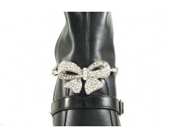 Crystal Pave Bow Pearl Rolo Chain Shoe Boot Jewelry