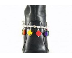 Multi Colors Dyed Stone Square Cross Charms Boot Jewelry