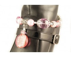 Pink Foil Stone With Crystal Pave Beads Shoe Jewelry