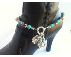 Turquoise Topaz Pearl Beads With Antique Silver Rose Shoe Jewelry