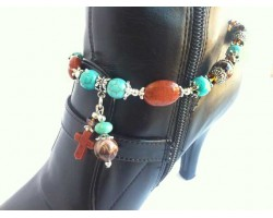 Brown Cross Turquoise Stone Boot Shoe Jewelry