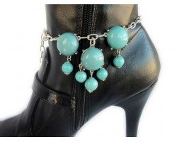 Turquoise Bubble Silver Boot Shoe Jewelry