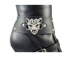 Crystal Leopard Face Black Faux Leather Wrap Boot Jewelry