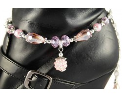 Pink AB Pave'd Crystal Pearl Tear Drop Boot Jewelry