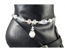 White AB Pave'd Crystal Pearl Tear Drop Boot Jewelry