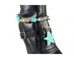 Turquoise Star Stone & Topaz Crystal Dangle Shoe Boot Jewelry