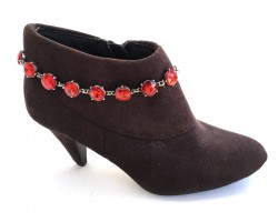 Red Crystal Cabochon Silver Shoe Boot Jewelry