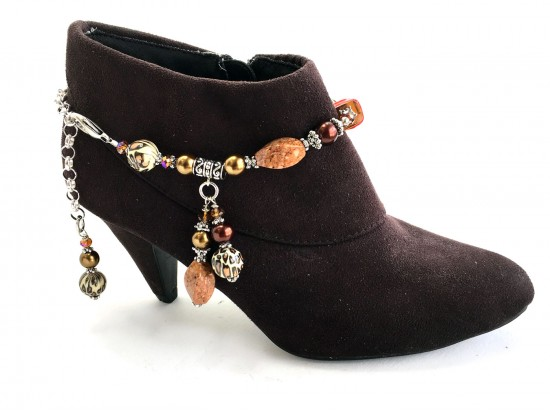 Brown Amber Stone Leopard Boot Jewelry