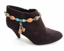 Turquoise Brown Stone Leopard Boot Jewelry