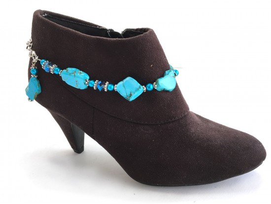 Turquoise Stone Slabs Crystal Boot Jewelry