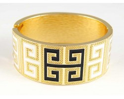 Black & White Enamel Greek Key Gold Cuff Bracelet