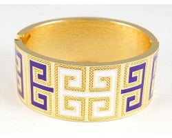 Purple & White Enamel Greek Key Gold Cuff Bracelet