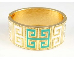 Turquoise & White Enamel Greek Key Gold Cuff Bracelet