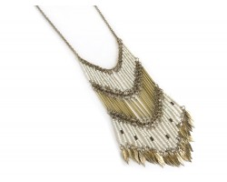 White Gold Seed Bead Feather Necklace
