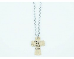 Silver Distressed Chain Gold True to the Faith Cross Necklace