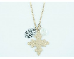 Gold Silver Distressed Star Burst Cross Shield, Pearl Charm Necklace