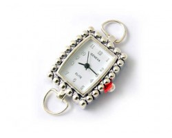 Silver Bubble Rectangle Geneva High Shine Watch Face Loop