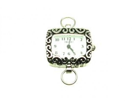 Silver Plate Sideways Rectangle With S Swirls With Watch Face Loop