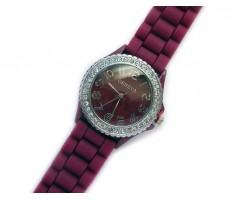 Aggie Maroon Silicone Strap Crystal Rim Watch