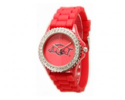Arkansas Razorbacks Large Silicone Crystal Watch