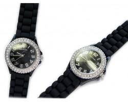 Black Ceramic Silicone Strap Crystal Rim Watch
