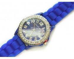 Blue Royal Ceramic Silicone Strap Crystal Rim Watch