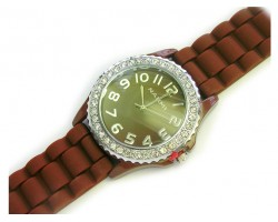 Brown Ceramic Silicone Strap Crystal Rim Watch
