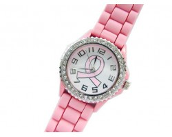 Pink Cancer Ribbon Silicone Strap Crystal Rim Watch
