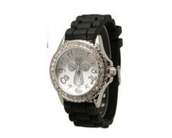 Silver Cross Black Silicone Crystal Rim Watch