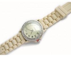 Cream Ceramic Silicone Strap Crystal Rim Watch