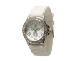 Silver Cross White Silicone Crystal Rim Watch