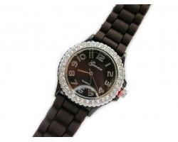 Dark Chocolate Brown Ceramic Silicone Strap Crystal Rim Watch