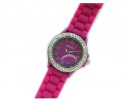 Fucshia Ceramic Silicone Strap Crystal Rim Watch