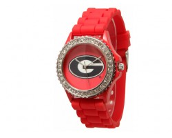 Georgia Bulldogs Large Silicone Crystal Watch