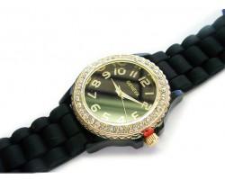 Black Ceramic Silicone Strap Crystal Gold Rim Watch