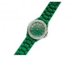Green Ceramic Silicone Strap Crystal Rim Watch